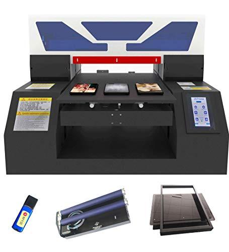 A3 Formato automatico UV Flatbed Stampante per PVC PET Card Cellphone caso tazze di vetro metallo legno Stampa (con stampo bottiglia titolare)