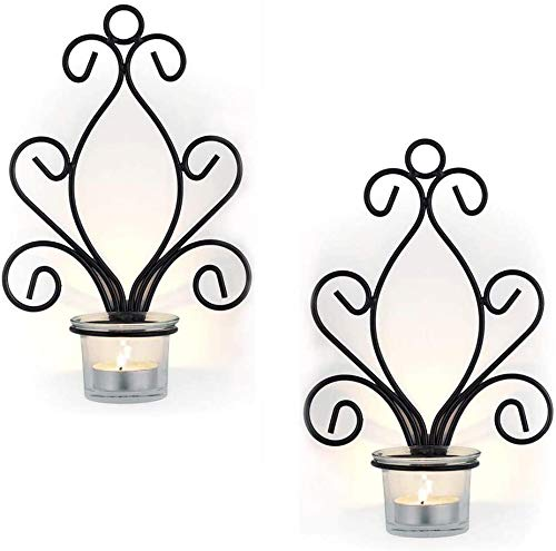 2Pcs Iron Candle Holder, Wall Art Candle Hanging Candle Holder, Home Decoration Tealight Candle Stand, Wall Sconce for Bedroom, Dining Room, Living Room, corridor, Black,Black