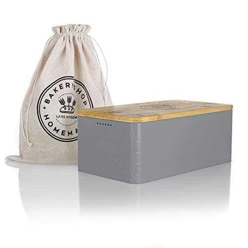 LARS NYSØM® Brotkasten I Brotbox aus Metall mit Brotsack aus Leinen für langanhaltende Frische I Brotdose mit hochwertigem Bambusdeckel verwendbar als Schneidebrett I 34x18.5x13.5cm (Grau)