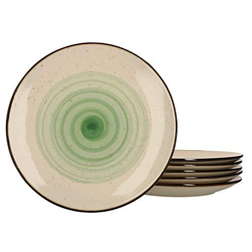 Van Well 6er Set Speiseteller Nova mit Strudeldekor grün I Essteller Ø27cm I Tafel-Geschirr für 6 Personen I Gastro-Bedarf I Brunch & Buffet