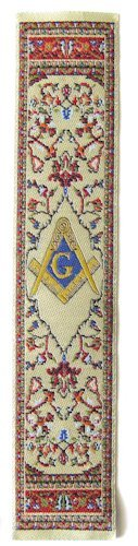 Square & Compass Beige Masonic Bookmark - [7'' x 2'']