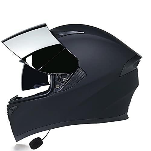 Bluetooth Integrado Casco de Moto Modular DOT/ECE Homologado con Doble Visera Intercomunicación Sistema de Comuni para Adultos Hombres Mujeres B,M=57~58CM