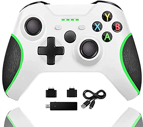 Wireless Controller for Xbox One, Enhanced PC Controller with 2.4G Bluetooth Adapter, Upgraded Dual Vibration Gamepad Compatible with Xbox One/One S/One X/One Elite/PS3 Host/Windows 10