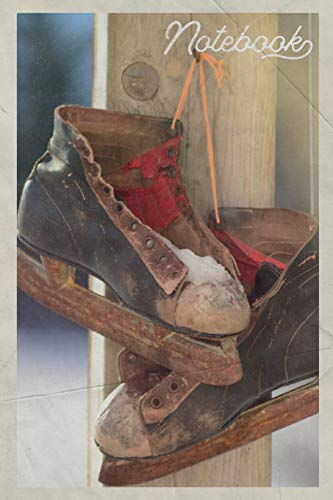 Notebook: Vintage ice skates Beautiful Composition Book Journal Diary for Men, Women, Teen & Kids Vintage Retro Design for figure skating legends