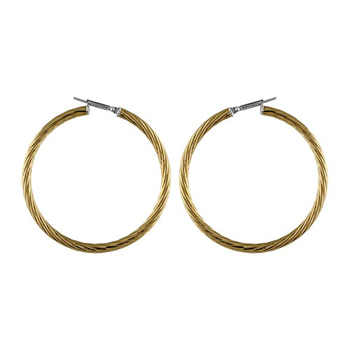 FranceBijoux-Orecchini da donna a cerchio, in acciaio, ritorti, giallo, 45 mm, nuovi