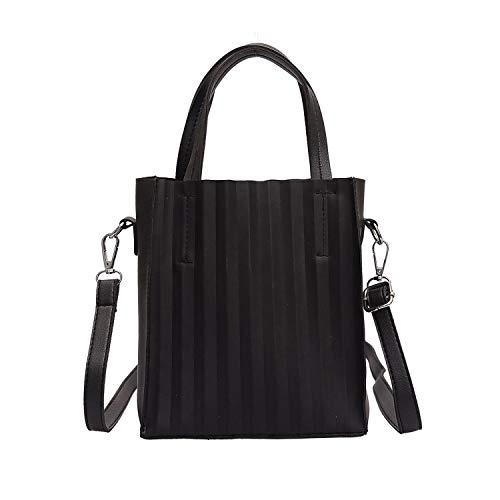 FORU Official Store Donne Messenger Bag Casual Tote Femminile Borsa a Mano Increspato Crossbody Borse D20-in Top, Nero, (A tinta unita), Taglia unica