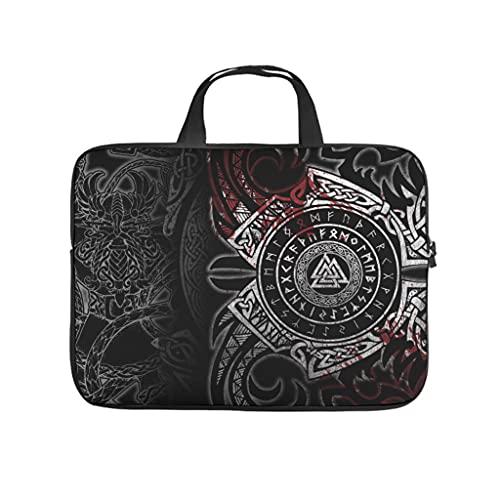 Facbalaign Bolsa para portátil con asa, diseño vikingo con palabra Totem Mythos Tattoo