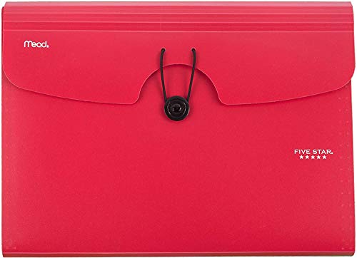 Five Star 6-Pocket Expanding File Organizer, Plastic Expandable Letter Size File Folders with Pockets, Home Office Supplies, Portable Paper Organizer for Receipts, Bills, Documents, Red New (72387)