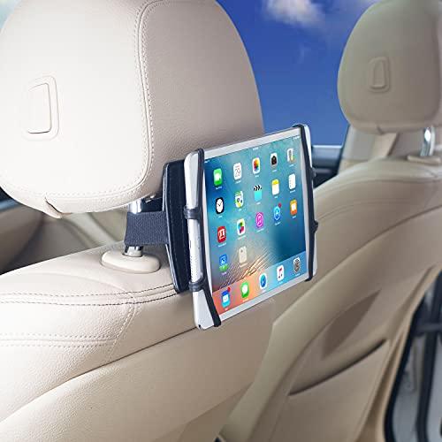 TFY Soporte para reposacabezas giratorio para tableta, compatible con iPad, interruptor, para smartphones de 4.5 a 6.5 pulgadas y tabletas de 7 a 10.5 pulgadas