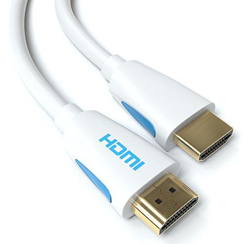 10m HDMI Kabel Weiß 1.4a / 2.0 Ultra HD 4k| High Speed with Ethernet | neues Modell 3 fach geschirmt / inkl. Stecker- und Kontaktschirmung | 4K Ultra HD 2160p / Full HD 1080p | 3D / ARC / CEC |weiss zehn Meter