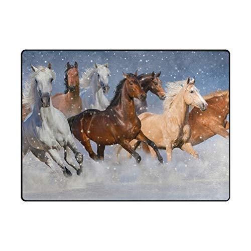 Mnsruu Grand tapis contemporain 160 x 122 cm - Motif chevaux dans la neige - Tapis doux pour le salon et la chambre à coucher