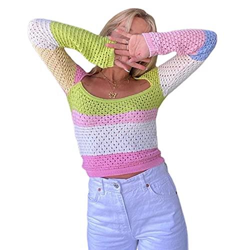 Y2K Crochet Knit Crop Top manga larga color bloque suéter Tops ahueca hacia fuera camisas vintage Streetwear, Rosa amarillo., S