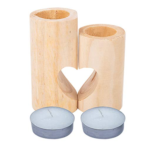 Candle Holder Gift Set of 2 Pieces, Heart-Shaped Solid Wood Candle Holder for LED Tea Lights for Wedding Decoration Date Night Tabletop Decoration, Contains 2 Natural Scented Candles (Round)