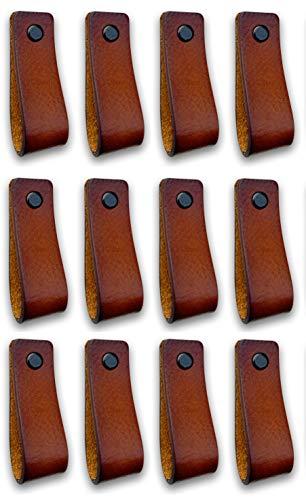 Brute Strength - Ledergriffe Möbel - Cognac - 12 Stück - 16,5 x 2,5 cm - enthält 3 Schraubenfarben pro Ledergriff für Küchenschränke - Bad - Schränke