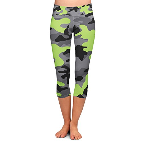 Queen of Cases Dark Camouflage Lime Green - L - Yoga Capri Leggings