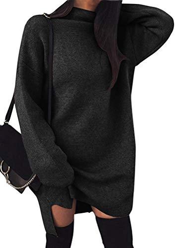 Minetom Damen Pullover Kleider Mode Minikleid Winterkleider Strickkleider Langarm Warm Oversize Stricksweat Strickpullover Lose Sweatkleid Schwarz DE 44