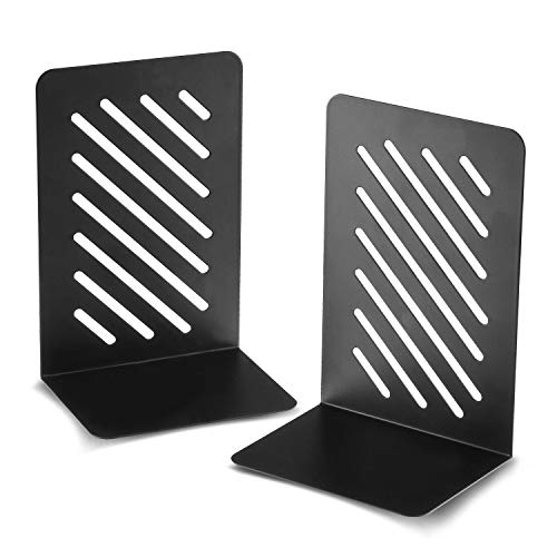 Bookends Two Piece Bookend Set Bookends for Heavy Books NonSlip Metal Bookends Decorative Bookends for Offices 35 x 45 x 675 inch Book Ends Book Holder for Shelves