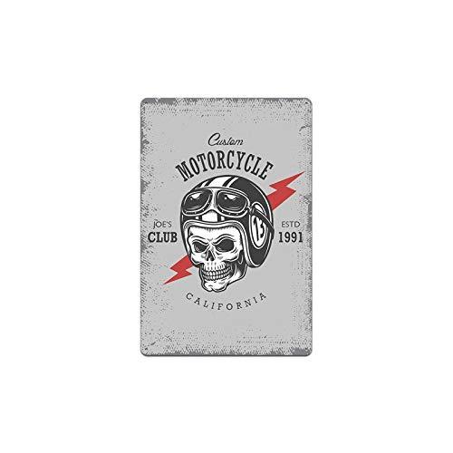 Hojalata de alcantarilla Nueva motocicleta Cráneo Lobo Signos Placas de metal Carteles Cartel de chapa de metal vintage Decoración de garaje para el hogar Arte Pub Club Decoración de pared 20x30cm 13