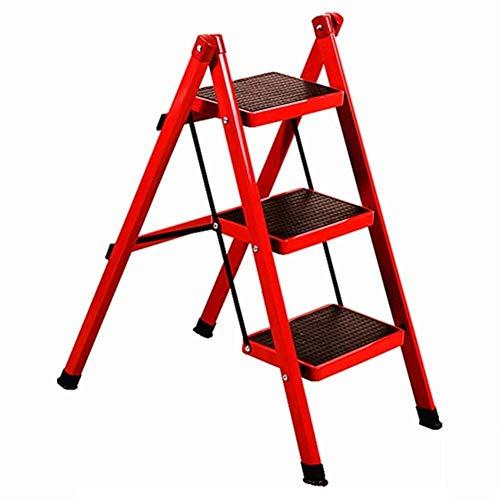LJWJ Escaleras Escalera Telescópica Escalera de Mano Plegable Portátil, Pedal Ascendente Plegable para Adultos Estante de Hierro Soporte de Flores Zapatero, Escalera Opcional de Color,Rojo