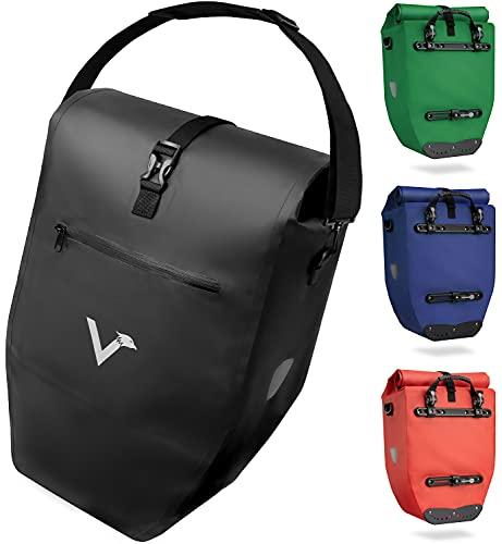 Valkental - Große & wasserdichte Gepäckträgertasche - 28L Füllvolumen - Fahrradtasche für Gepäckträger mit Reflektoren in Schwarz