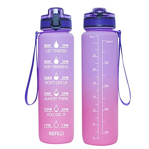 WAYKShop Botella Agua,1000ml Botella Agua Deporte, Botella Agua Motivacional, Prueba de Fugas, para Deporte, Gimnasio, Running, Niños,Purple Orange