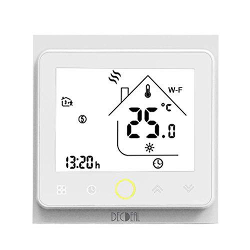 Decdeal Termostato WiFi para Caldera de Gas/Agua Termostato Inteligente programable - Función de Control de Voz Compatible con Alexa, Google Home Corriente de carga 5A