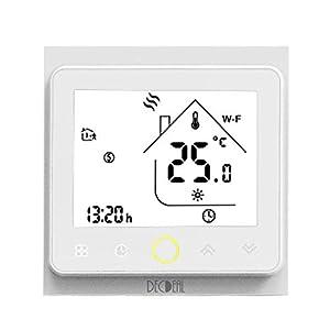 Decdeal - Termostato WiFi para caldera de Gas/Agua Termostato Inteligente programable - Función de Control de Voz - Compatible con Alexa, Google Home - Corriente de carga 5A
