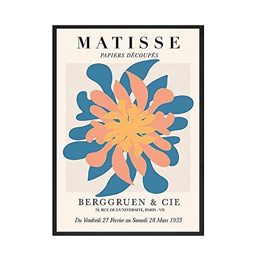 Henri Matisse Resumen Minimalista Líneas Recortes Plantas Hojas Flores Mujer Lienzo Pintura Arte de la pared Póster Dormitorio Sala de estar Estudio Decoración para el hogar Mural