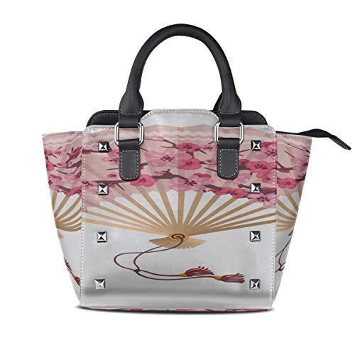 IUBBKI Bolso de hombro más fresco Japón Flor de cerezo Abanico plegable...
