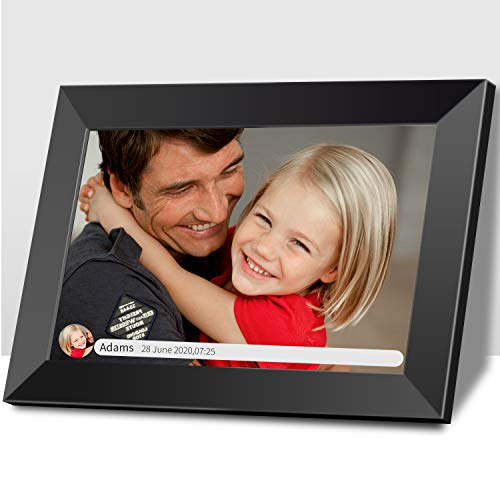 Digital Photo Frame,Smart Picture Frame 10 Inch WiFi Touch Screen IPS HD Display Auto-Rotate 16GB Storage Widescreen Music Support SD Card Wall-Mountable Share Moments Instantly Digital Frames Picture