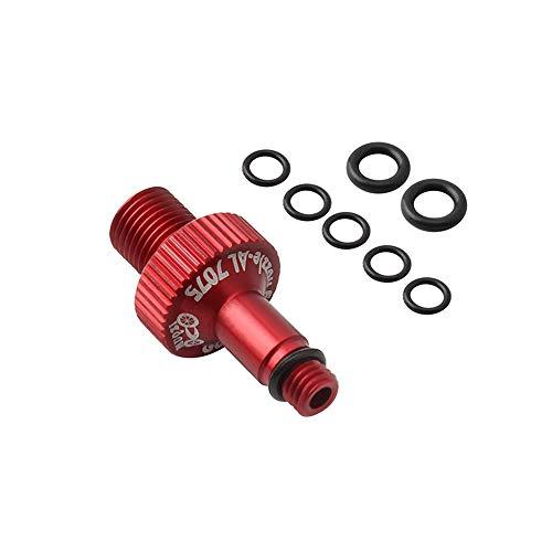 Ramble Adaptateur de Valve de Pompe de vélo soupapes en Alliage d'aluminium Adaptateur de Valve de Pompe avec buse de Conversion aérée pour VTT(Red)