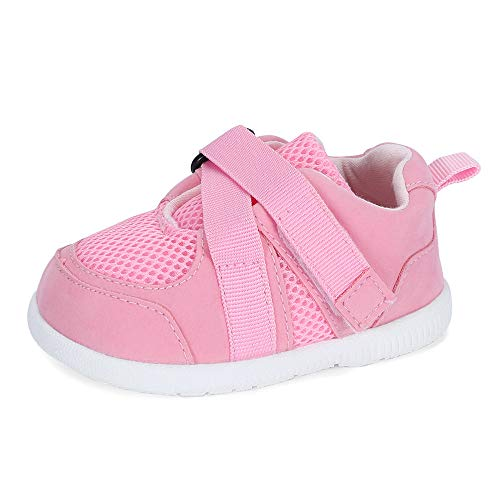 LACOFIA Zapatos Primeros Pasos Infantil Zapatillas de Deporte Transpirables con Suela de Goma Antideslizante para bebé niñas Rosa 19/20