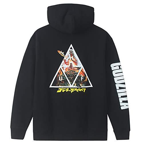 HUF Godzilla vs Huf Bar Logo Hoodie Sweatshirt mit Kapuze Limited Edition 2020 Edition Black, Schwarz Large