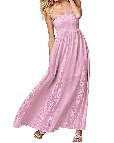 ACHIOOWA Mujer Vestido Cuello Palabra Encaje Punto Falda Sin Manga Playa Boda Suelto Elegante Dress Rosa XL