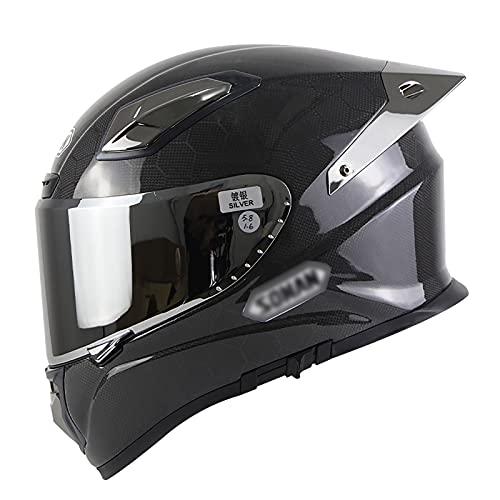 NINOMI Casco Integral para Motocicleta, Cuatro Estaciones Fibra De Carbono Frontal Abatible Casco Modular De Motocicleta para Motocicleta Scooter Ciclomotor Unisex Certificado Ece/Dot
