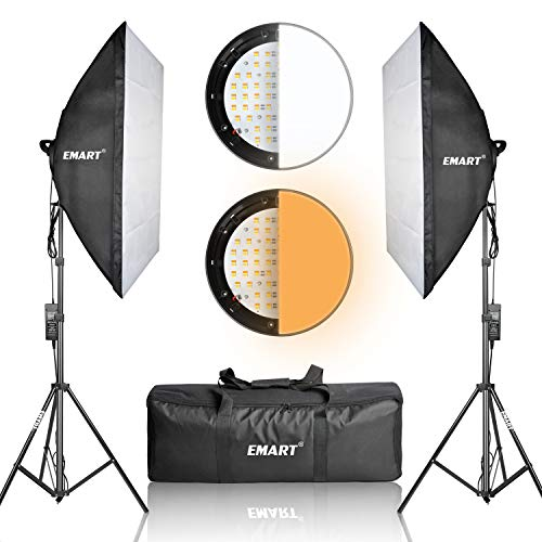 EMART Photography Softbox Dimmable LED Lighting Kit and Stand (2 Pack)