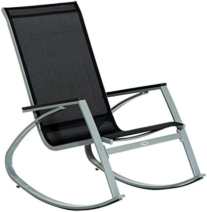 Best Outsunny Outdoor Modern Front Porch Patio Rocking Sling Chair - Black/Silver