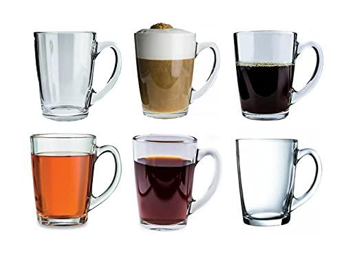 Taza de café grande de cristal de la mañana, juego de 6, 320 ml, transparente, transparente, único y aislado con mango