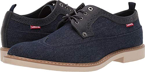 Levi's Mens Tindal Casual Denim Wingtip Oxford Shoe, Navy, 9 M