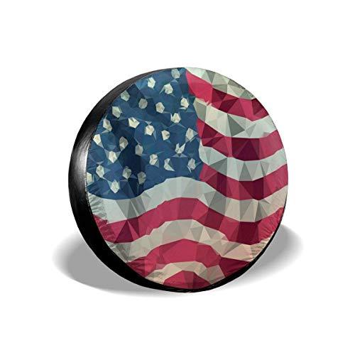 WCHAO Reifenabdeckung Polygon der amerikanischen Flagge Wohnmobilanhänger Universal Reserveradabdeckungen Protektoren Zubehör, Sonnenschutz