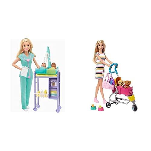 Barbie Quiero Ser Pediatra Muñeca Rubia con Dos Bebes Y Accesorios (Mattel Gkh23)+ Y Su Carrito para Mascotas, Muñeca Rubia con Accesorios Y Perritos (Mattel Ghv92)