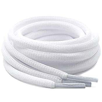 DELELE 2 Pair Oval Shoes laces Half Round 1/4 Athletic Shoelaces Shoe Strings White-51.18