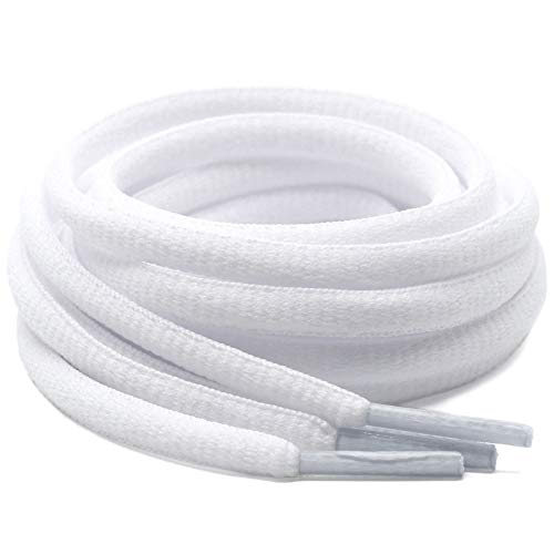 DELELE 2Pair Oval Shoes laces 42 Colors Half Round 1/4'Athletic ShoeLaces for Sport/Running Shoes Shoe Strings White -45.28'