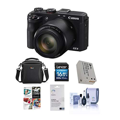 Canon PowerShot G3-X Compact Digital Camera - Bundle with Camera Case, Spare Battery, 16GB Class 10 SDHC Card, Cleaning Kit, Screen Protector, Pro PC Software Package