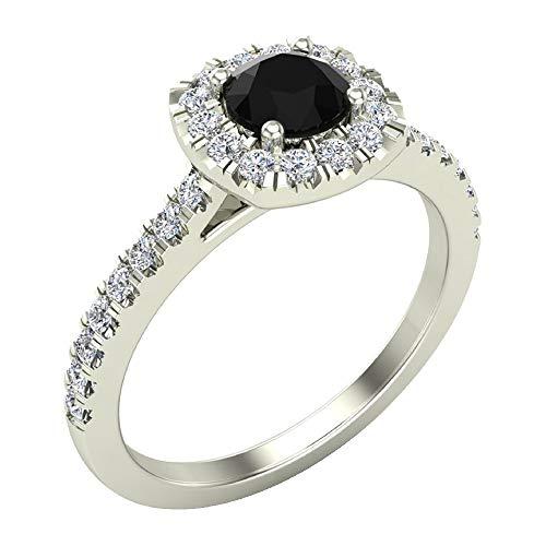 Glitz Design Mujer Niños Hombre Unisex oro 14 quilates (585) oro blanco round-brilliant-shape Black IJ Diamond