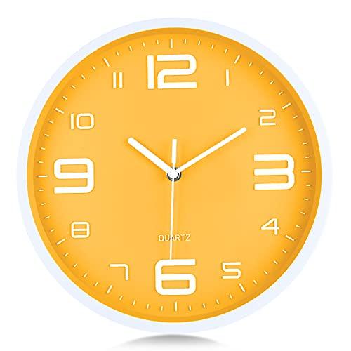 Lafocuse Reloj de Pared Amarillo Limón Números 3D Grandes Reloj de Cuarzo Silenciosos Modernos sin Ruido Decorativo para Cocina Dormitorio Salon 30 cm