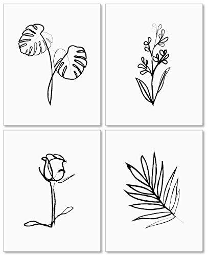 Confetti Fox Plants Line Drawing Wall Art - 8x10 Unframed Set of 4 Prints - Flowers Minimalist Art Modern Decor - Botanical Black and White Abstract Artwork