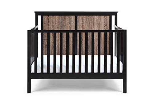 Suite Bebe Connelly 4 in 1 Convertible Crib in Black with Vintage Walnut - Quick Ship