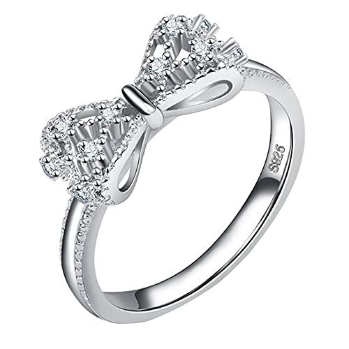 certainPL Women White Gold Plated Zircon Diamond Bow Engagement Ring Promise Dainty Eternity Ring for Women (Silver, 7)