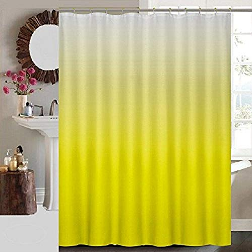 Daniel's Bath Daniel's Bath & Beyond Ombre Shower Curtain with 12 Roller Hooks, Yellow